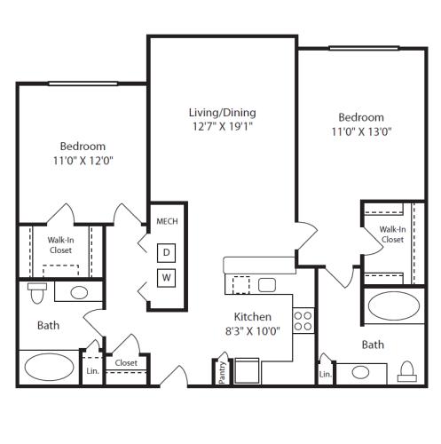 Floor Plan  2 Bed/2 Bath D