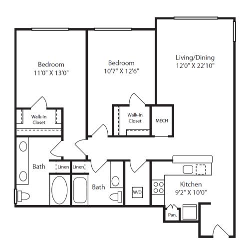 Floor Plan  2 Bed/2 Bath F