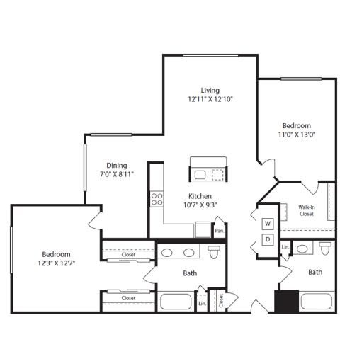 Floor Plan  2 Bed/2 Bath H