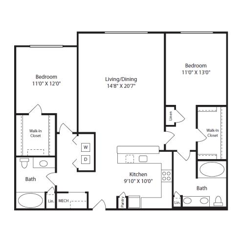 Floor Plan  2Bed/ 2Bath I