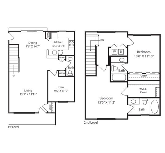 Floor Plan  2 Bed/2.5 Bath Townhome B