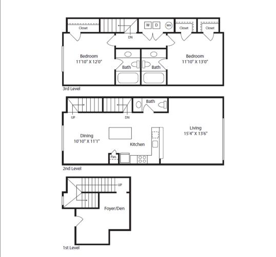 Floor Plan  2 Bed/2.5 Bath Townhome D