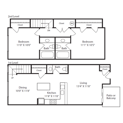 Floor Plan  2 Bed/2.5 Bath Townhome A