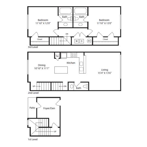 Floor Plan  2 Bed/2.5 Bath Townhome C