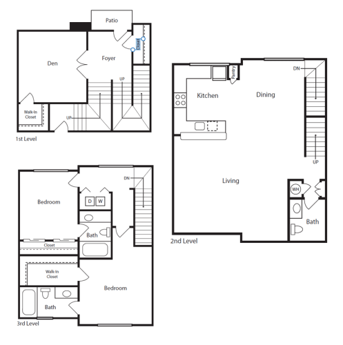 Floor Plan  2 Bed/2.5 Bath Townhome I
