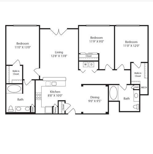 Floor Plan  3 Bed/2 Bath