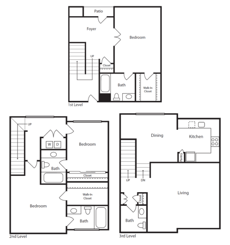 Floor Plan  3 Bed / 3.5 Bath Townhome