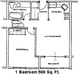 Floor Plan  Woodland Estates 1-Bedroom Floor Plan