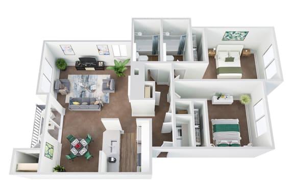 Floor Plan  2 Bed / 2 Bath