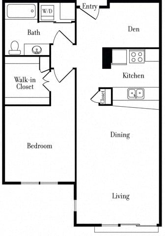 Floor Plan  507 One-Bed + Den A