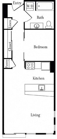Floor Plan  507 Open One Bedroom