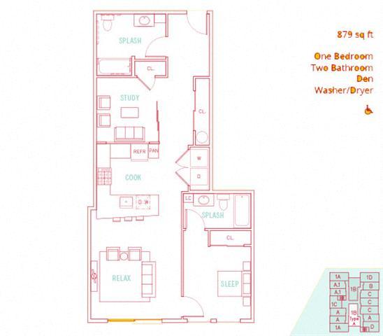 Floor Plan  1BD + Den - Canal