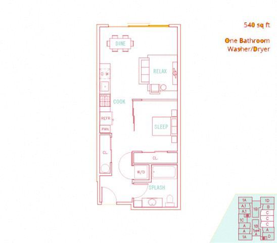 Floor Plan  1BD - Sands