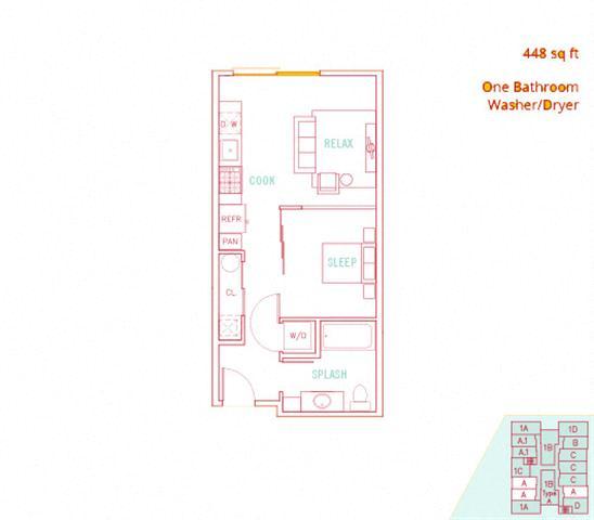 Floor Plan  1BD - Surf
