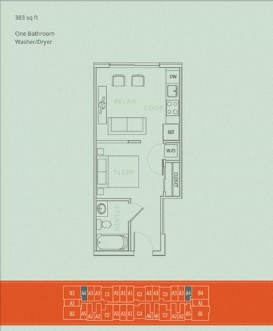 Floor Plan  1BD - Abalone