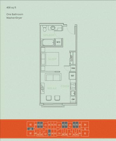 Floor Plan  1BD - Bolt