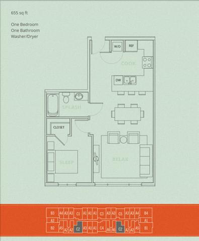 Floor Plan  1BD - Crux