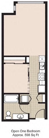 Floor Plan  525 Open One Bedroom