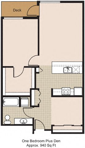Floor Plan  525 One Bedroom + Den