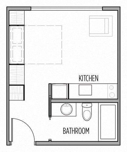 Floor Plan  Studio 275 Sq Ft Floor Plan  at Shelton Eastlake apartments in Seattle, Washington