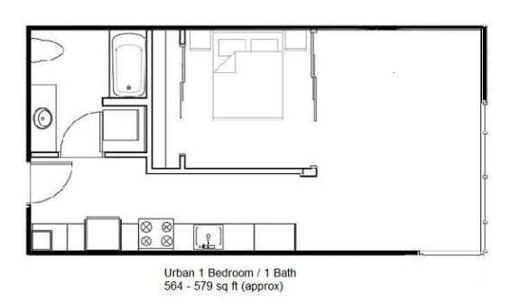 Floor Plan  Urban 1 Bedroom