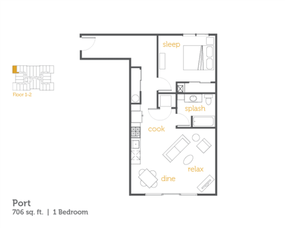 Floor Plan  Port - 1x1