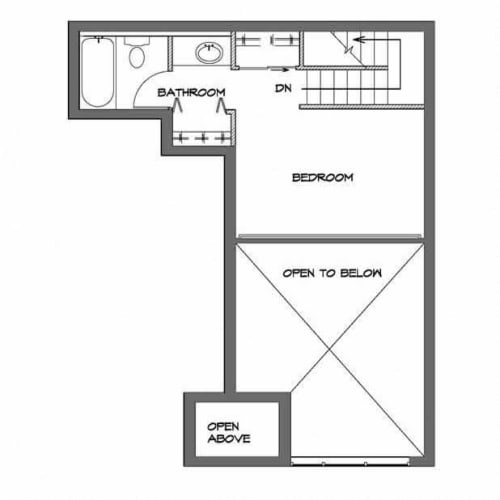 Floor Plan  One Bedroom Loft