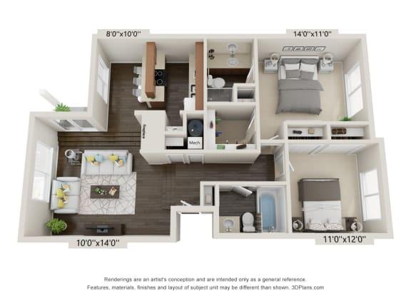 Floor Plan  2 Bed Villa