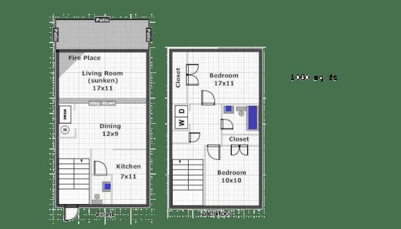 Floor Plan  2 Bedroom 2 Bath