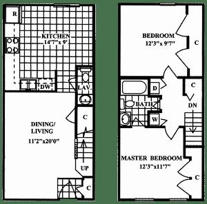 Floor Plan  2 Bedroom 1.5 Bath