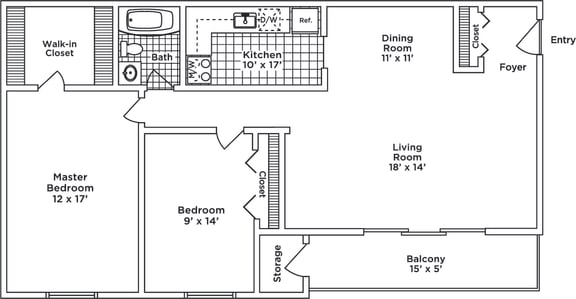 Floor Plan  2 Bedroom 1Bath