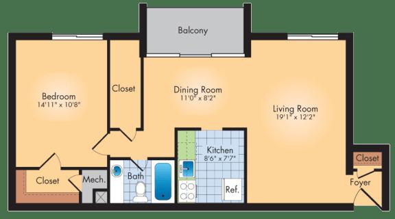 Floor Plan  1 Bedroom 1 Bath 913 SqFt Plan A