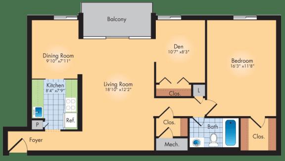 Floor Plan  1 Bedroom 1 Bath + Den 941 SqFt