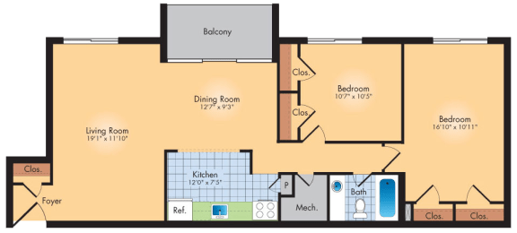 Floor Plan  2 Bedroom 1 Bath 1019 SqFt