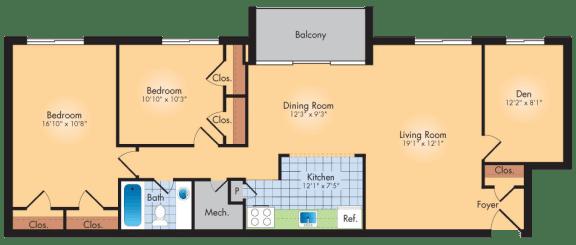 Floor Plan  2 Bedroom 1 Bath + Den 1120 SqFt Plan A
