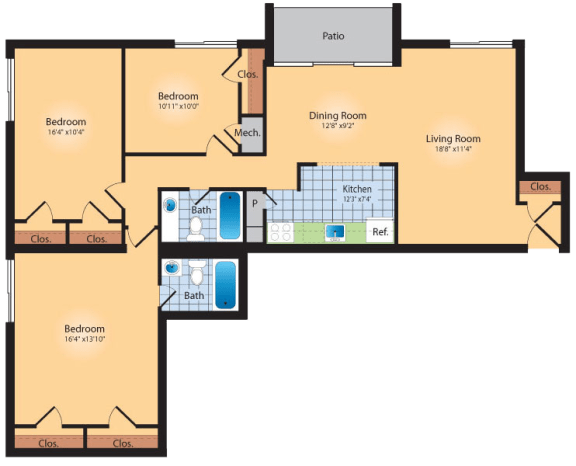 Floor Plan  3 Bedroom 2 Bath 1335 SqFt