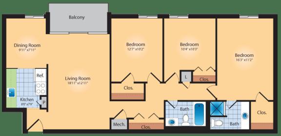 Floor Plan  3 Bedroom 2 Bath 1200 SqFt