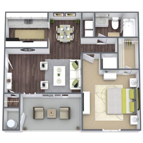 Floor Plan  Elevate at Jackson Creek 1x1 Floor Plan, 541 SQFT.