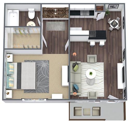 Floor Plan  1-Bed, 1-Bath Floor Plan, 750 SQFT.