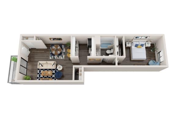 Floor Plan  1X1A Floor Plan, 1-Bed 1-Bath Floor Plan