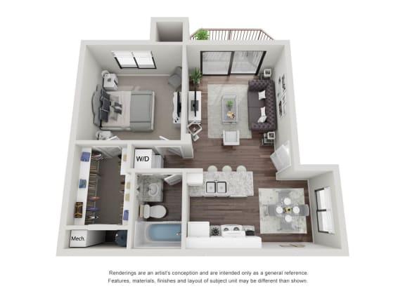 Floor Plan  One Bedroom One Bathroom 3D Floor plan 11a