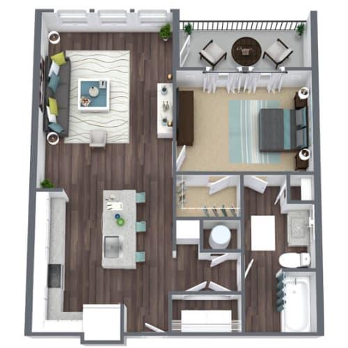 Floor Plan  A1 Balcony, 1-Bed 1-Bath Floor Plan, 864 SQFT