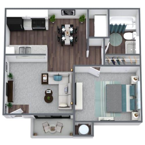 Floor Plan  A1 1-Bed 1-Bath Floor Plan, 600SQFT