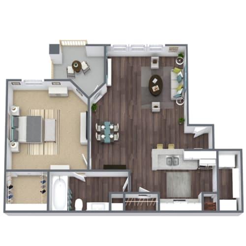 Floor Plan  A1 Floor Plan, 1-Bed 1-Bath