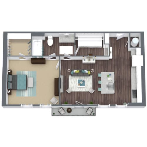 Floor Plan  A1, 1-Bed 1-Bath Floor Plan, 673 SQFT