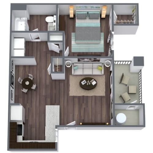 Floor Plan  Vitality (A1) Floor Plan, 1-Bed 1-Bath, 692 SQFT