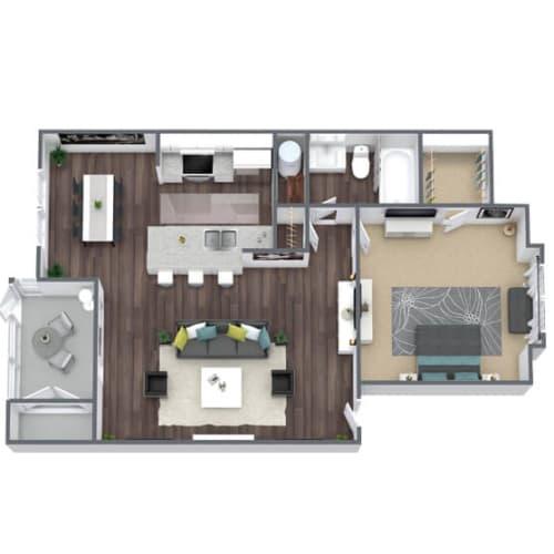 Floor Plan  A1 Floor Plan, 1-Bed, 1-Bath, 756 SQFT.