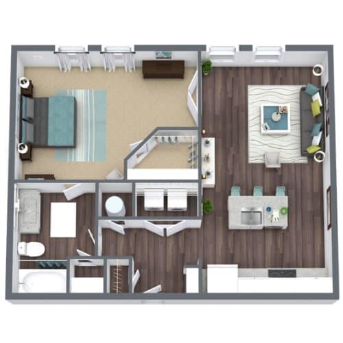 Floor Plan  A2, 1-Bed 1-Bath Floor Plan, 800 SQFT