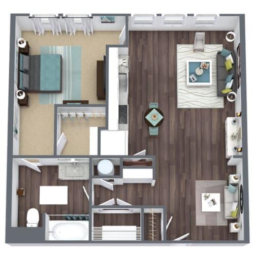 Floor Plan  A3, 1-Bed 1-Bath Floor Plan, 809 SQFT