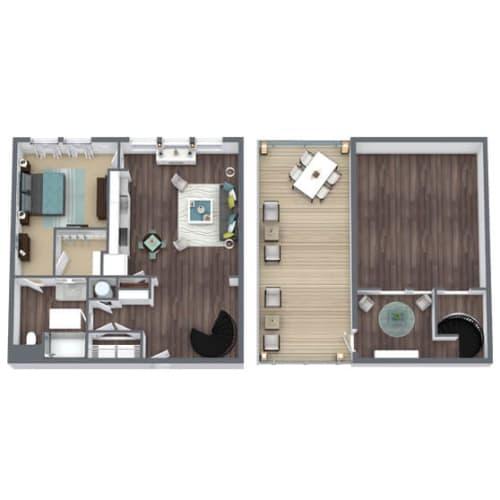 Floor Plan  A3 Loft, 1-Bed 1-Bath Floor Plan, 950 SQFT